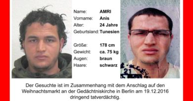 epa05684706 An undated handout photo made available by German Federal Criminal Police Office (BKA) on 21 December 2016 shows the wanted note for suspect Anis Amri who is searched for in connection to the 19 December Berlin attacks. A manhunt for the truck driver is underway after an initial suspect had to be released after he was cleared of the suspicion. At least 12 people were killed and dozens injured when a truck on 19 December drove into the Christmas market at Breitscheidplatz in Berlin, in what authorities believe was a deliberate attack.  EPA/BKA / HANDOUT BEST QUALITY AVAILABLE, MANDATORY CREDIT HANDOUT EDITORIAL USE ONLY/NO SALES
