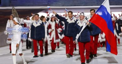 epa05667165 (FILE) A file picture dated 07 February 2014 of Team Russia with flag bearer Alexander Zubkov (R) during the Opening Ceremony of the Sochi 2014 Olympic Games at the Fisht Olympic Stadium in Sochi, Russia. According to a report presented by Richard McLaren, a member of the independent commission of the World Anti-Doping Agency (WADA), on 08 December 2016 in London, Britain, more than 1,000 Russian athletes were involved in state-sponsored doping since 2011, news reports stated.  EPA/BARBARA WALTON *** Local Caption *** 52752829