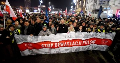 epa05674271 Former Polish PM Ewa Kopacz (4-R), the Committee for the Defence of Democracy (KOD) leader Mateusz Kijowski (6-R) and leader of Polish Nowoczesna Party Ryszard Petru (3-L) with other demonstrators take part in the 'Stop Devastation of Poland' march organized by the Committee for the Defence of Democracy (KOD) on the 35th anniversary of the introduction of martial law in Poland, in Warsaw, Poland, 13 December 2016. The march is organized to protest against the Polish government of Law and Justice party (PiS). The symbolic date of the 13th of December relates to the introduction of the martial law in Poland in 1981. As the organizers say: the fight to preserve the democratic state of law is a tribute to the victims of the martial law.  EPA/BARTLOMIEJ ZBOROWSKI POLAND OUT