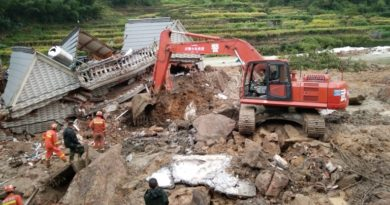 epaselect epa05561366 Rescuers work at the site of a landslide in Suichang county, Zhejiang province, China, 29 September 2016. Fifteen people have been rescued so far. At least 26 people were still missing in the landslide triggered by downpours from Typhoon Megi.  EPA/HU GUOLIN CHINA OUT