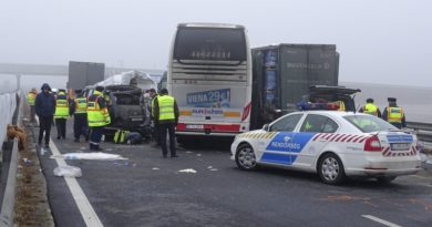epa05794710 Hungarian police officers work at the scene of a road accident occurred on the M43 motorway near  the Romanian border by Nagylak, Hungary 15 February 2017. Two lorries and a coach, all three with Romanian number plates, as well as two Hungarian and two Bulgarian trucks collided one kilometer from the Hungarian border checkpoint Nagylak. Two Turkish, one Romanian and one Bulgarian nationals died in the accident.  EPA/Ferenc Donka HUNGARY OUT
