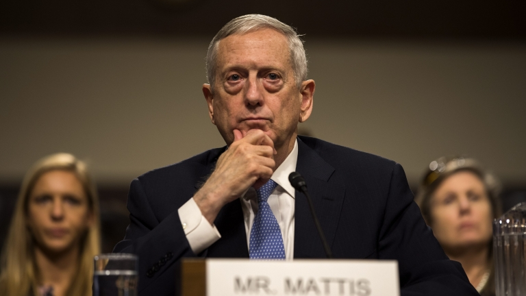 epa05713061 Retired United States Marine Corps general  and Donald Trump's nominee for Secretary of Defense James Mattis testifies at his confirmation hearing before the Senate Armed Services Committee in the Dirksen Senate Office Building in Washington, DC, USA, 12 January 2017. The four-star general recently resigned from the board of the embattled blood-testing company Theranos.  EPA/JIM LO SCALZO