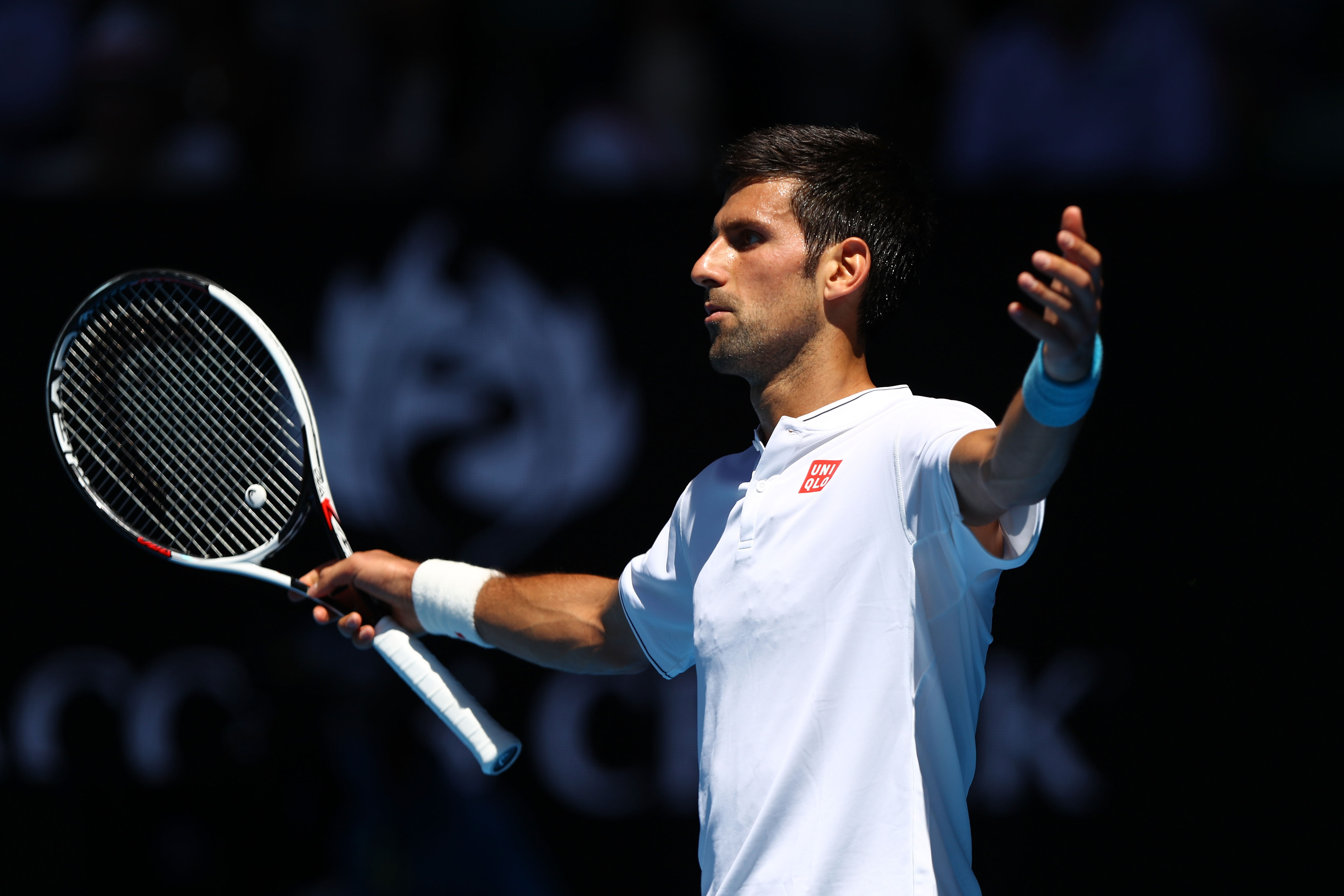MELBOURNE, AUSTRALIA - JANUARY 19:  Novak Djokovic of Serbia reacts in his second round match against Denis Istomin of Uzbekistan on day four of the 2017 Australian Open at Melbourne Park on January 19, 2017 in Melbourne, Australia.  (Photo by Ryan Pierse/Getty Images)