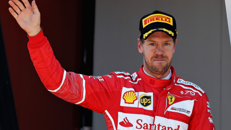 MONTMELO, SPAIN - MAY 14: Second placed finisher Sebastian Vettel of Germany and Ferrari celebrates on the podium during the Spanish Formula One Grand Prix at Circuit de Catalunya on May 14, 2017 in Montmelo, Spain.  (Photo by Mark Thompson/Getty Images)