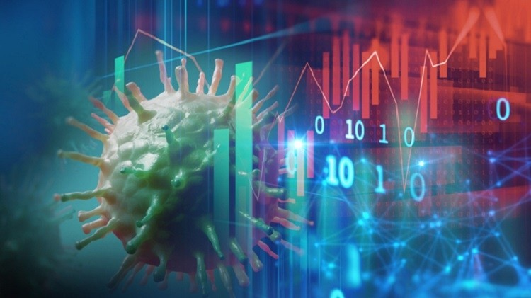 Down trend financial graph on nCov corona virus microscope image ,concept of economic crisis effect by covid -19 .3d illustration