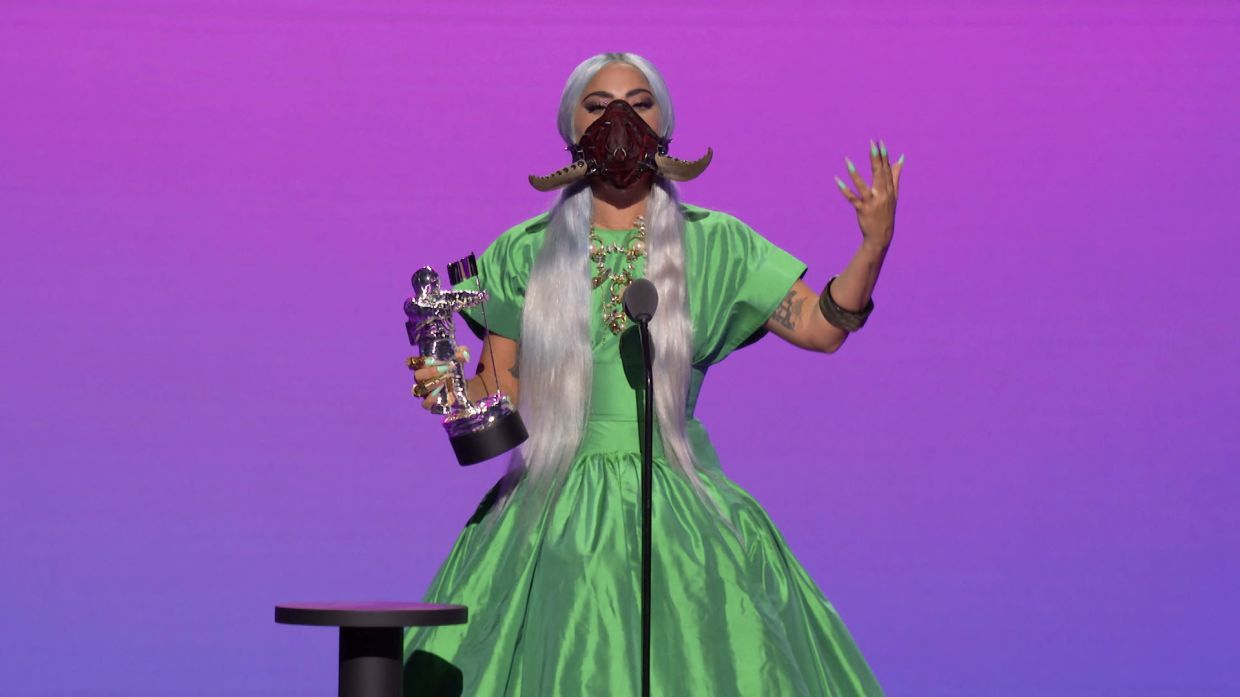 Lady Gaga accepts the award for Artist of the Year during the 2020 MTV VMAs in this screen grab image made available on August 30, 2020. VIACOM/Handout via REUTERS ATTENTION EDITORS - THIS IMAGE HAS BEEN SUPPLIED BY A THIRD PARTY. EDITORIAL USE ONLY. NO RESALES. NO ARCHIVES.