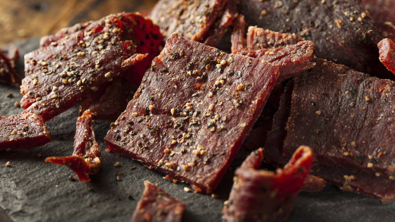 Dried Peppered Beef Jerky Cut in Strips