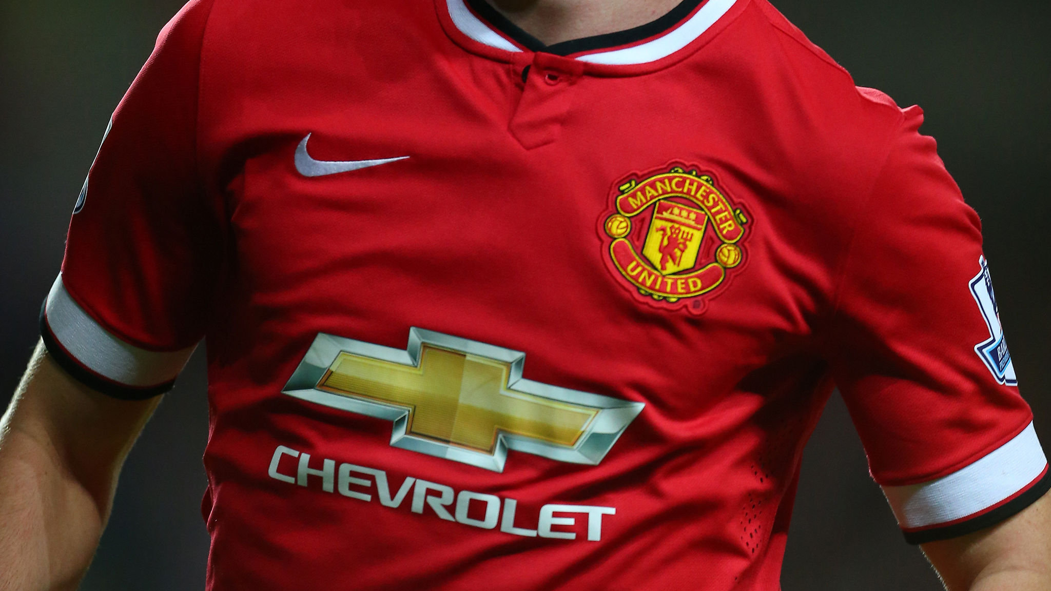 Close up of the Manchester United Nike home shirt with Chevrolet as the sponsor (Photo by AMA/Corbis via Getty Images)